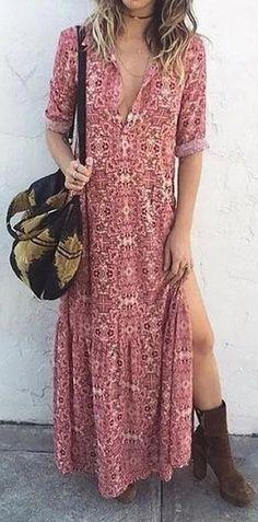 8eef1743bd  45.99 USD Pink Women Daily Long Sleeve Printed Floral Fall Summer Dresses  Modelos De Vestido