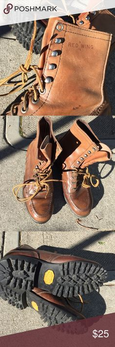 Red Wing Hiking Boots Boys/Girls/Women's Size 3 wide. They were mine & are child's 3 but fit my women's size 4 perfectly. Well worn in but still in excellent condition w Vibram soles that last forever. No point in spending $150 on a growing child. Good real leather Red Wing Shoes Shoes Combat & Moto Boots
