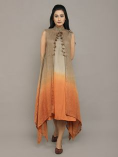 Grey Brown Orange Linen Dress with Jacket - Set of 2