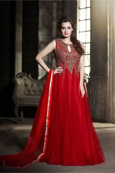 Red Colour Net Fabric Designer Semi Stitched Gown Comes With Matching Dupatta. This Gown Is Crafted With Resham Work,Embroidery Work. This Gown Comes As a Semi Stitched So It Can Be Stitched Up To Siz...