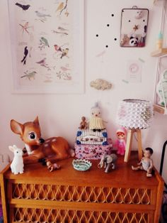 J'aurais pu m'appeler Marcel...vintage retro kids room colorful flag bunting, tumble doll, Woodland doll, Heico lamps and toy piano, and soft toys by Lucky Boy Sunday.