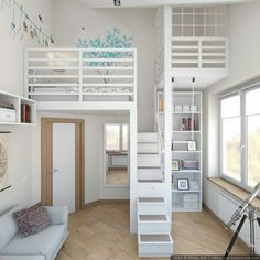 modern children's room raised bed storage canape gray modernes Kinderzimmer Hochbett Stauraum Canape grau Cute Bedroom Ideas, Cute Room Decor, Girl Bedroom Designs, Awesome Bedrooms, Cool Rooms, Bed Designs, Design Bedroom, Bedroom Loft, Dream Bedroom