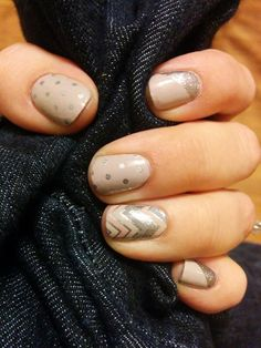 Champagne Toast, Icy Taupe Poika, and Sugar and Spice. It's a beautiful, neutral yet sparkly manicure.