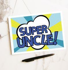 Super Uncle Card Pop Art Design Birthday Gift For Him Best Superhero Greetings From Kids
