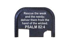 Rear End Cover Back Slide Plate all models of GLOCK - Bible Psalm 82:4