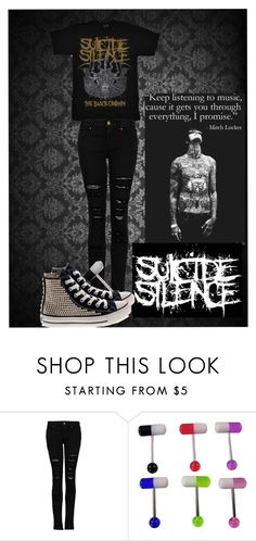 """""""Just take it one day at a time"""" by opalescent-skin ❤ liked on Polyvore featuring MANGO, Converse and SuicideSilence"""