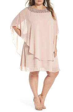 e122e168b2528 Free shipping and returns on Xscape Beaded Neck Chiffon Overlay Dress (Plus  Size) at