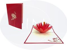 Pop up birthday card, water lily Pop Up Karten, Pop Up Cards, Chrysanthemum, Birthday Cards, Greeting Cards, Lily, Water, Holiday, Bday Cards