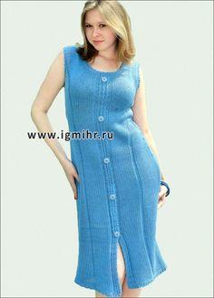 Летнее платье свободной формы, цвета индиго. Спицы