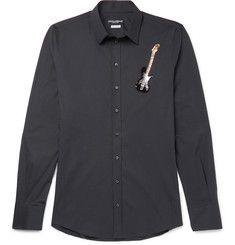Dolce & Gabbana - Slim-Fit Guitar-Embellished Stretch-Cotton Poplin Shirt