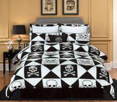 Skull Bedding Set for Children Skull Bedroom, Bedroom Decor, Goth Bedroom, Bedroom Ideas, Master Bedroom, Queen Size Bedding, Comforter Sets, White Bedding, Pirate Bedding