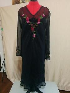 Carole Little Size 16 100% Silk Chiffon Dress w/ Matching Chemise Embroidered  | eBay