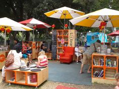 Outdoor library at Sydney Festival... This would encourage me to read!