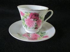 Cup and Saucer Vintage Made in China Pink and Red Roses on White Gold Rimmed Teacup (7.00 USD) by HobbitHouse