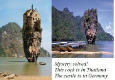 """Is it just me?  This is not screaming """"photoshopped""""?????  Viral Images: """"Castle House Island Dublin Ireland"""" ...... Reversed and cropped Lichtenstein castle on a rock formation in Thailand."""