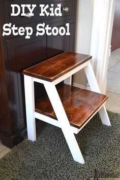 Give yourself a boost! Build this simple DIY wooden step stool for those hard to reach places. Perfect kid step stool to wash hands. #oneboardchallenge #woodworking