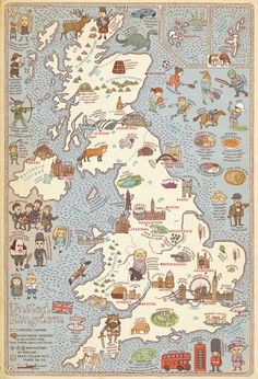 "-Map of United Kingdom -Map of Holland Polish artists and designers with Hipopotam Studio collaborate to compile a book of maps of various countries around the world. ""Atlas composed of 51 maps full. United Kingdom Map, Pictorial Maps, Map Globe, Thinking Day, Design Thinking, Map Design, Graphic Design, Vintage Maps, British History"