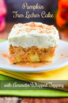 Pumpkin Tres Leches Cake is a light and airy sponge cake soaked in a pumpkin cream sauce (tres leches) and topped with an amaretto whipped cream topping. Worthy of a special occasion or holiday, such as Thanksgiving.