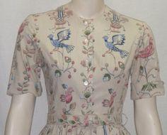 Vintage 1950's Miss Jrs. Full Circle Skirt Dress Small Bluebird