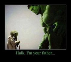 "aw man. that is nit yoda. If it was Yoda, he would say ""your father I am, Hulk!!' holy bajeebies!"