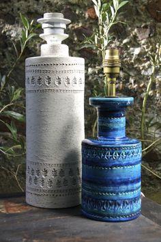 Bitossi Italian pottery, Rimini Blue and rare white glaze table lamps, designed by Aldo Londi, circa 1960′s