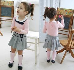 Girls Baby Kids Long Sleeves Top+Skirt 2 Pcs Outfit Set S1-6Y Costume Clothing | eBay