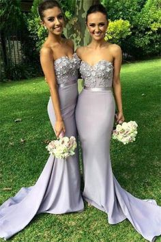 Elegant Chiffon Long Mermaid Bridesmaid Dress Light Grey Sweetheart Appliques Be. - - Elegant Chiffon Long Mermaid Bridesmaid Dress Light Grey Sweetheart Appliques Beaded Evening Dresses Custom Made Prom Gowns Elegant Chiffon Long Merma. Unique Bridesmaid Dresses, Unique Dresses, Wedding Bridesmaids, Sexy Dresses, Wedding Gowns, Evening Dresses, Prom Gowns, Party Dresses, Prom Dress