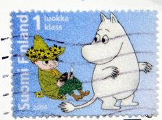 Moomin and Sniff on a stamp