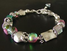 Dichroic Glass Bracelet with Hill Tribe Fine Silver ... handcrafted  by jQ jewelry designs