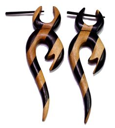(sku no:Sew_45) A Pair of Brown Black Strap Design Wooden Danglers Wood Earrings Sew_45.please visit our website www.krishnamartindia.com