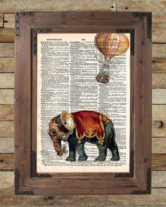 Steampunk elephant, elephant art print, oddities art