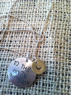 to the moon and back hand stamped necklace by threechickscouture, $18.00