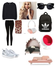 """""""furniture shopping"""" by chloe-ashforth on Polyvore featuring Current/Elliott, adidas Originals, NIKE, Frends, Zuo, Haute House, women's clothing, women, female and woman"""