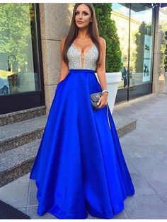 2017 prom dress, long prom dress, royal blue prom dress,formal evening dress, party dress