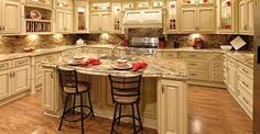 Our Wholesale RTA Heritage White Dark Glaze Kitchen Cabinets are one of the most popular styles of cabinetry, and Great Buy Cabinets offers factory direct pricing. Design your kitchen with Heritage White Dark Glaze Kitchen Cabinets! Antique White Cabinets, Antique Kitchen Cabinets, Rustic Cabinets, Diy Kitchen, Kitchen Decor, Kitchen Ideas, Country Kitchen, Vintage Kitchen, Glazed Kitchen Cabinets