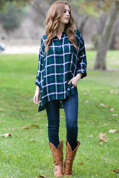 Feels So Right Flannel Tunic Green – TayaBella