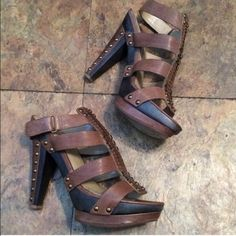 """Rachel Roy shoes Super cute Gently worn light tan studded shoes. Bought on Poshmark but it's big around my ankles. The front of the shoe has a platform. Super comfortable. Heel is 4 1/2"""" RACHEL Rachel Roy Shoes"""