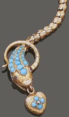 Bracelet 'Serpent' - Or, Rubis et Turquoises - 19ème Siècle