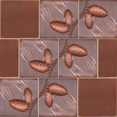 "3"" pine-cone  handmade relief tile with chocolate field tiles."