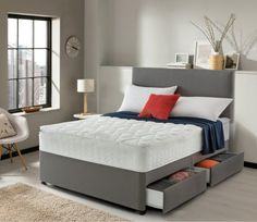 Silentnight Miracoil 3 Pippa Ultimate Pillowtop Divan Bed With Storage Options - White - Small Double Divan Beds With Storage, Double Bed With Storage, Ottoman Storage Bed, Bed Storage, Small Double Beds, Storage Drawers, Bedroom Furniture, Bedroom Decor, Teen Bedroom