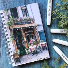Tiny Restaurant by Katerina Kurtakova Beautiful! This is the kind of urban sketching I want to do while on my trips Architecture Drawing Sketchbooks, Art And Architecture, Drawing Artist, Painting & Drawing, Watercolor Flowers, Watercolor Paintings, Watercolour, Drawing Flowers, Art Sketches