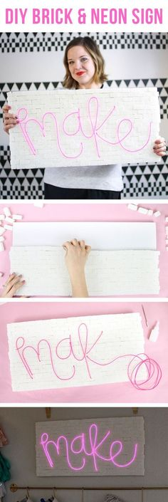 DIY brick and neon sign - so easy to make! No special tools required. Make whatever word or phrase you like