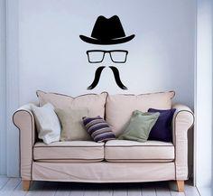 Hipster Glasses Hats Mustaches Vinyl Decal Art Housewares Wall Sticker Design Murals Modern Interior Decor Removable Room Window SV5165