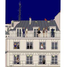 Bonne soirée IG   #illustration #Paris #haussman #angelinemelin #parisienne #illustrator #drawing #sketch #picoftheday #bestoftheday #doitinparis #parisiens