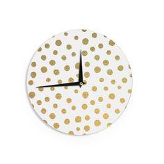 Kess InHouse Nika Martinez 'en Dots' White Yellow Wall Clock
