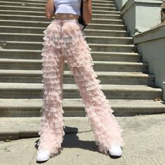 Mar 2020 - Fluffy ruffle pants listing for 🌹 - Depop Fashion Killa, Look Fashion, Runway Fashion, High Fashion, Fashion Outfits, Womens Fashion, Fashion Design, Fashion Trends, 90s Fashion