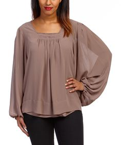 Look what I found on #zulily! Dolce Cabo Mocha Peasant Top by Dolce Cabo #zulilyfinds
