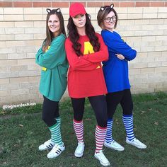 Diy Alvin and the chipmunks costumes were the best ideas we've had yet for a Diy Halloween costume !! We used oversized men's t-shirts and felt for the letters and ears on these diy costumes !