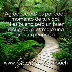 Agradece a Dios por cada momento de tu vida.  Si es bueno será un buen recuerdo, si es malo una gran experiencia.