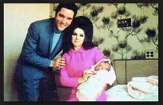 Elvis Presley with his wife Priscilla and their 4 day old daughter Lisa Marie Presley on February 5, 1968 in Memphis, Tennessee. 2